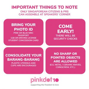Pink Dot 10: Bring your IDs and other tips